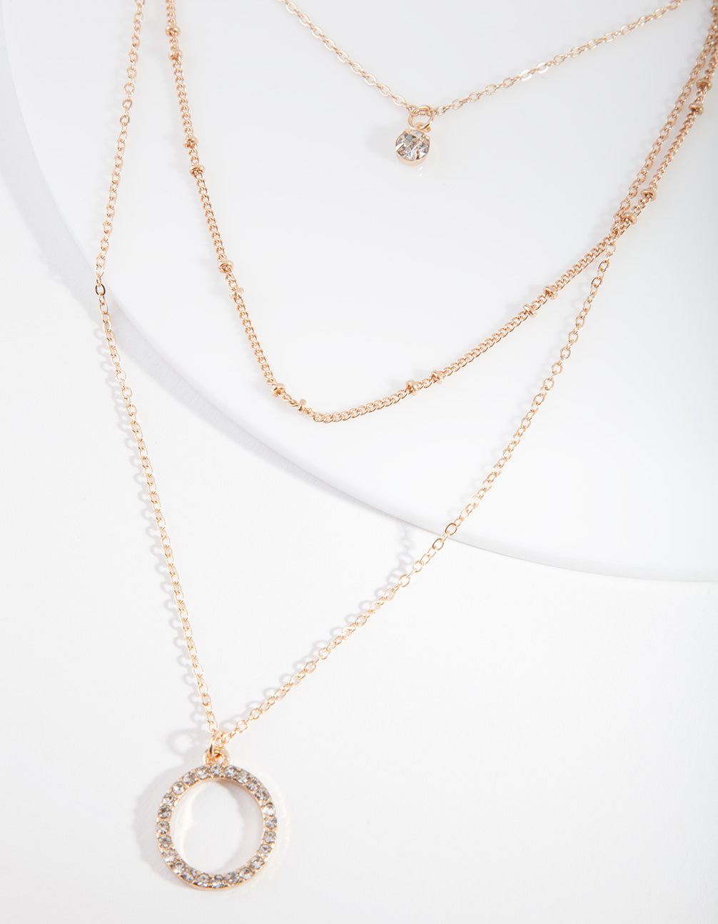 Gold Diamante Circle Necklace