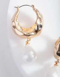 Gold Hoop Earring with Pearl Teardrop