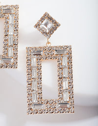 Small Square Diamante Drop Earring - link has visual effect only