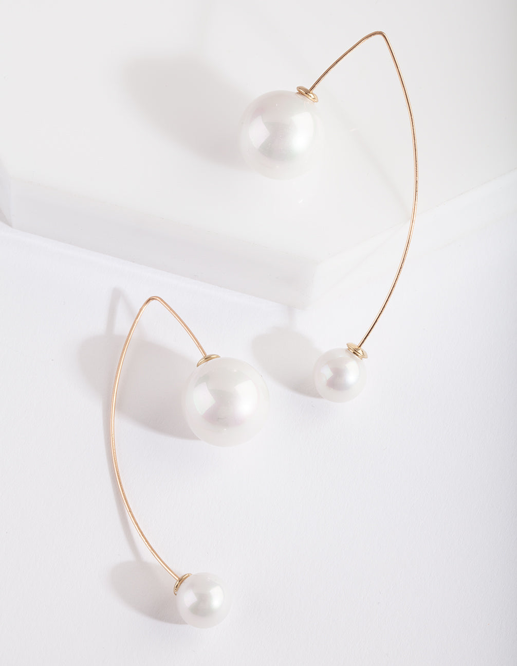 Gold Double Pearl Bead Earrings