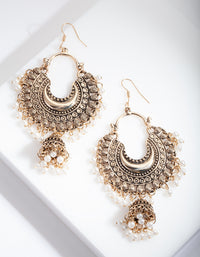 Antique Gold Pearl Tassel Drop Earring - link has visual effect only