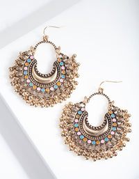 Antique Gold Bohemian Earrings with Black Beads - link has visual effect only