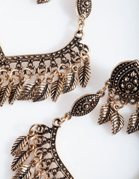 Antique Gold Leaf Detailed Drop Earring - link has visual effect only