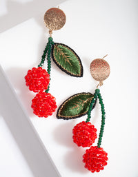 Beaded Cherry Drop Earring - link has visual effect only