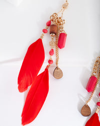 Red Mixed Feather Bead Earring - link has visual effect only