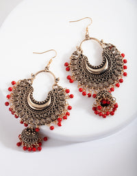 Antique Gold and Bead Tassel Drop Earring - link has visual effect only