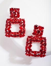 Red Gem Diamante Square Earring - link has visual effect only