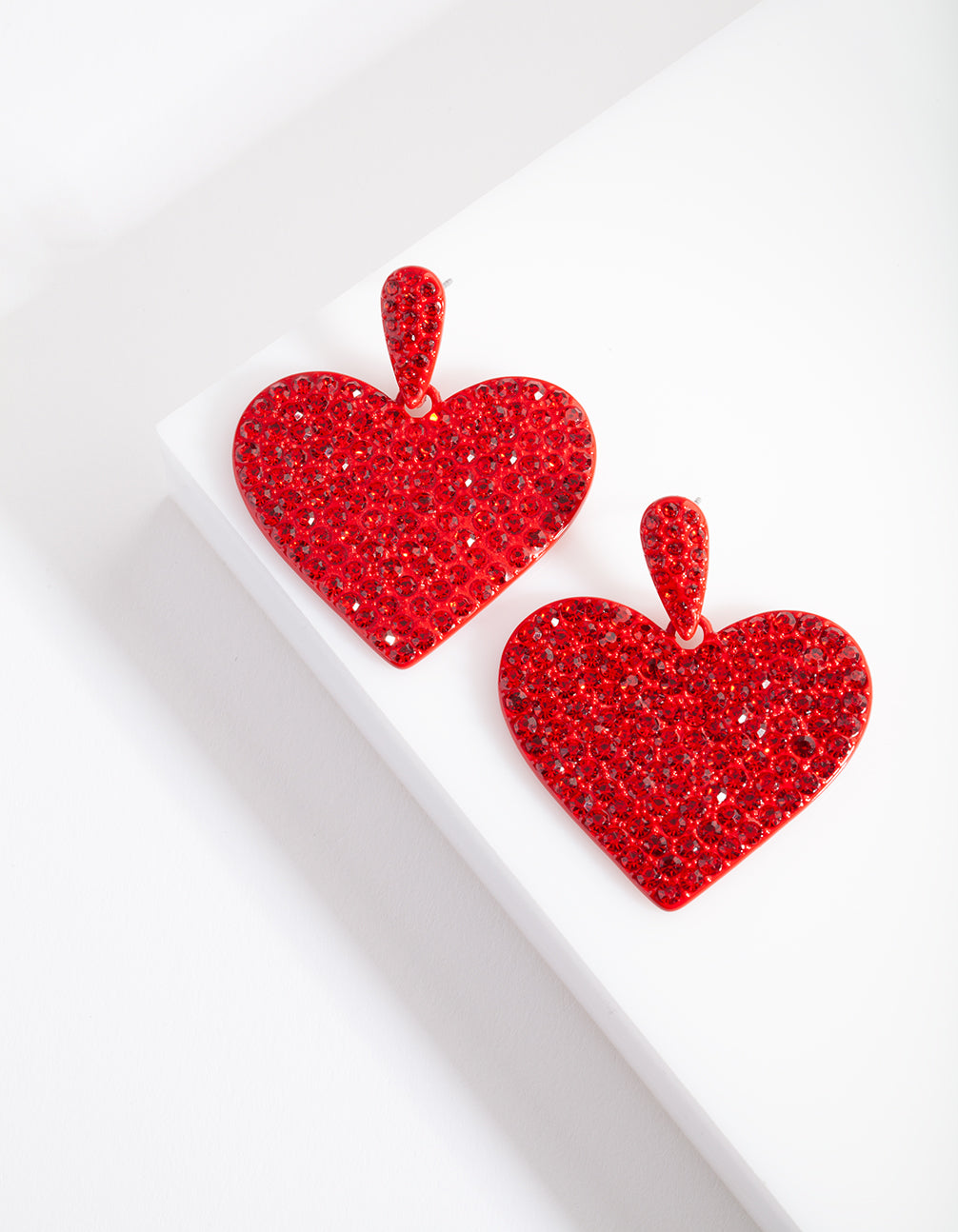 Red Diamante Statement Heart Earring