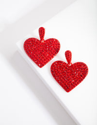 Red Diamante Statement Heart Earring - link has visual effect only