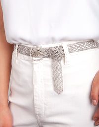 Silver Diamante Weaved Belt - link has visual effect only
