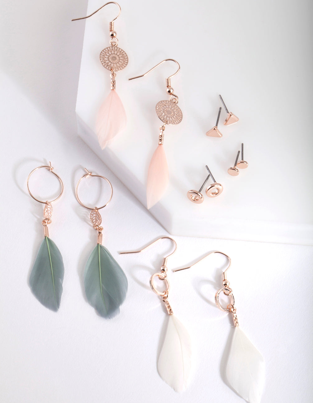 Rose Gold Pretty Feather Drop Earring Pack