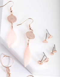 Rose Gold Pretty Feather Drop Earring Pack - link has visual effect only