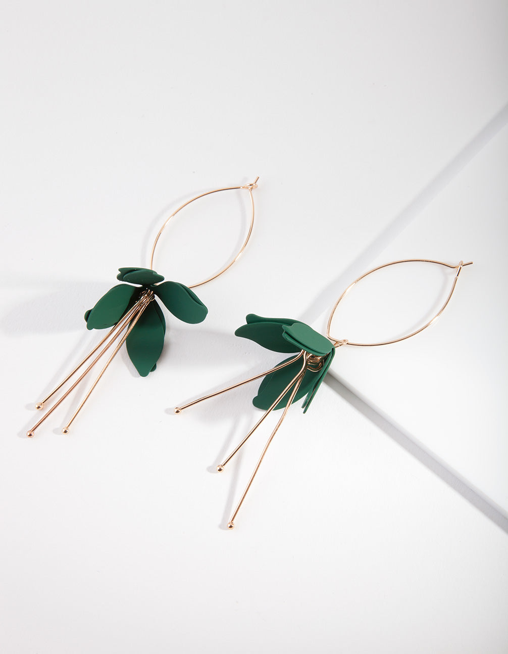Green Coated Flower Drop Earring
