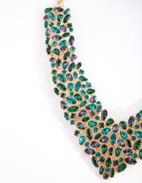 Gold Green Multi Stone V Necklace - link has visual effect only