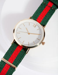Gold Stripe Fabric Watch - link has visual effect only