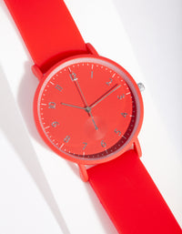 Red Silicone Watch - link has visual effect only