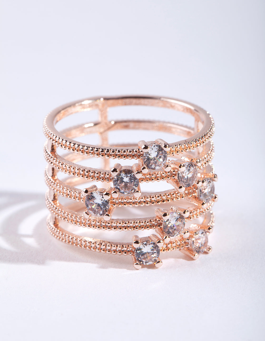 Rose Gold Diamante Stack Ring