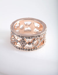 Rose Gold Diamante Patterned Ring