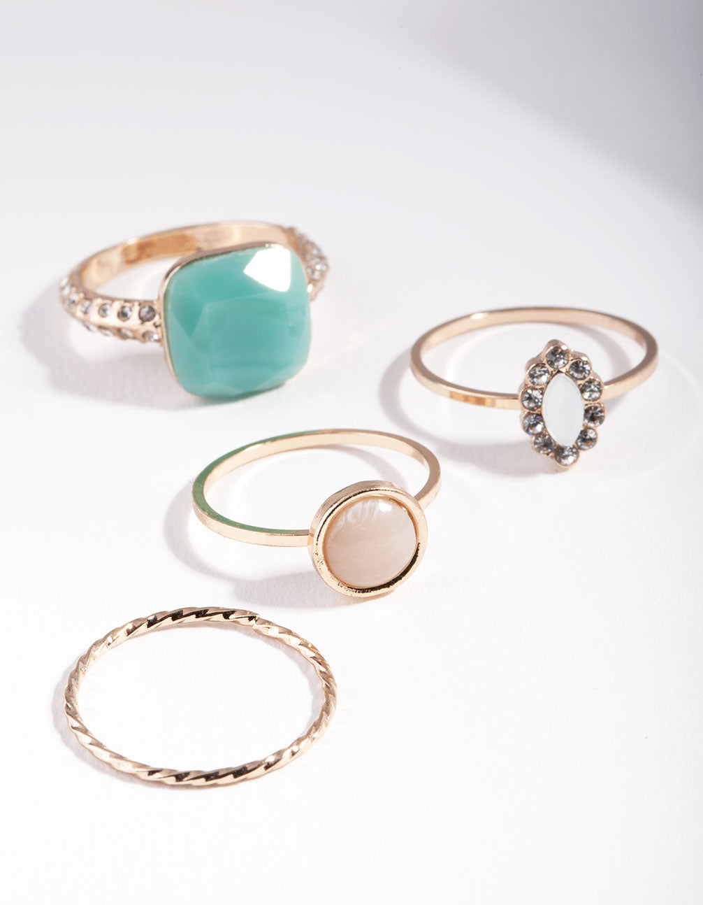 Gold Pastel Stone Ring Stack