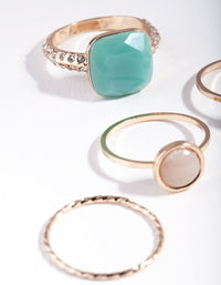 Gold Pastel Stone Ring Stack - link has visual effect only