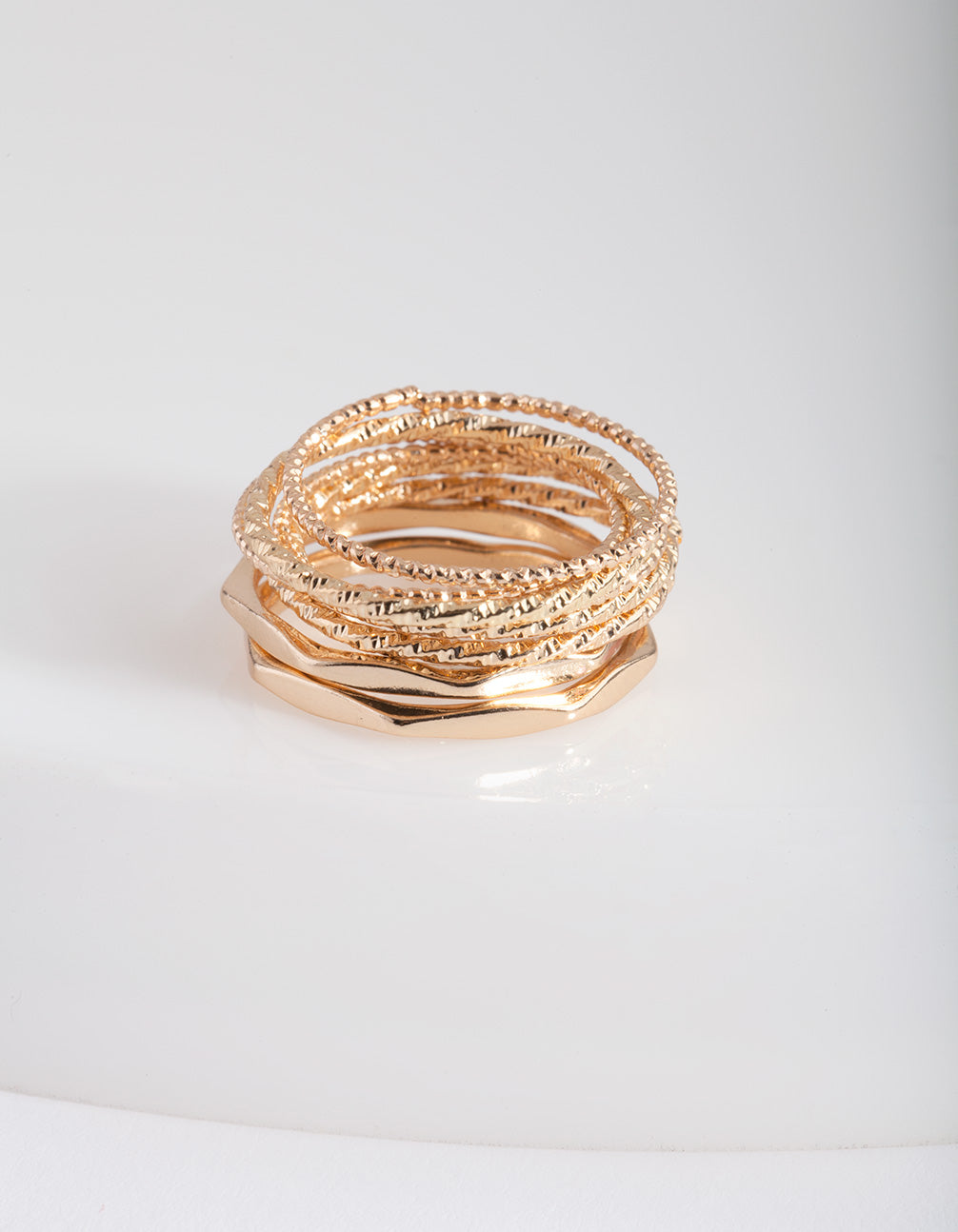 Gold Diamond Cut Ring Stack 8 Pack