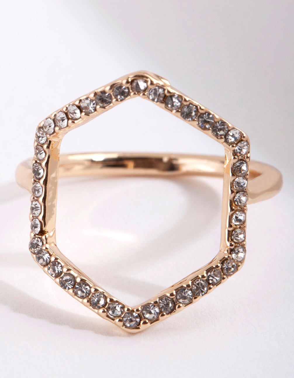 Gold Diamante Open Hexagon Ring