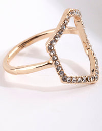 Gold Diamante Open Hexagon Ring - link has visual effect only