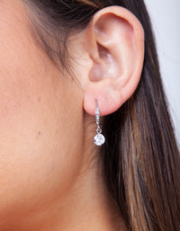 Rhodium Cubic Zirconia Drop Earring - link has visual effect only