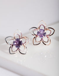 Purple Cubic Zirconia Flower Stud Earring Pack - link has visual effect only
