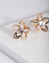 Gold Cubic Zirconia Flower Stud Earring Pack