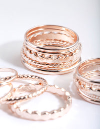 Rose Gold Textured Band Ring Pack - link has visual effect only