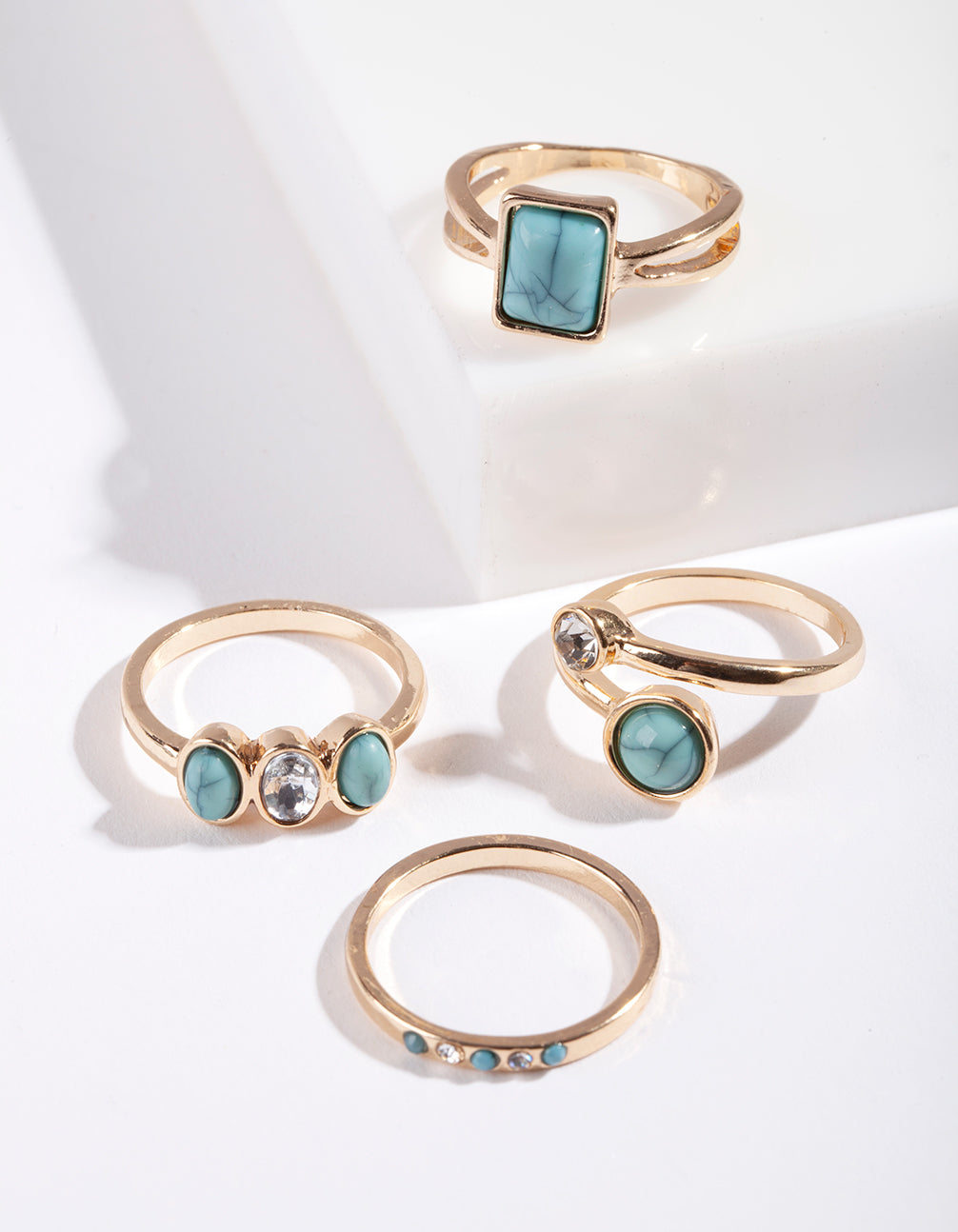 Gold Turquoise Mixed Shape Stone Rings 3 Pack