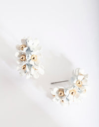 Mini White Flower Cluster Hoop Earring - link has visual effect only