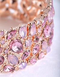Rose Gold Multi Diamante Stretch Bracelet