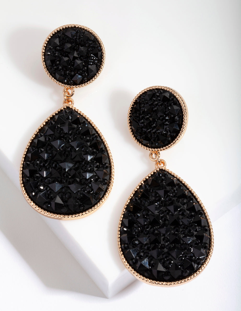 Black Embellished Teardrop Earring