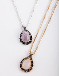 Mixed Metal Semi Precious Teardrop Necklace Set - link has visual effect only
