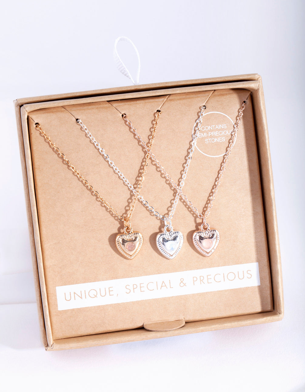 Mixed Metal 3 Pack Semi Precious Heart Necklace
