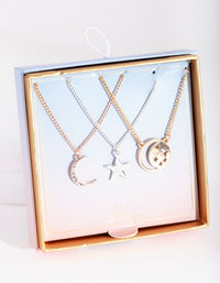 Gold Luck Charms Necklace 3 Pack - link has visual effect only