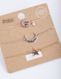 Mixed Metal Moon and Back Bracelet Anklet 3 Pack - link has visual effect only