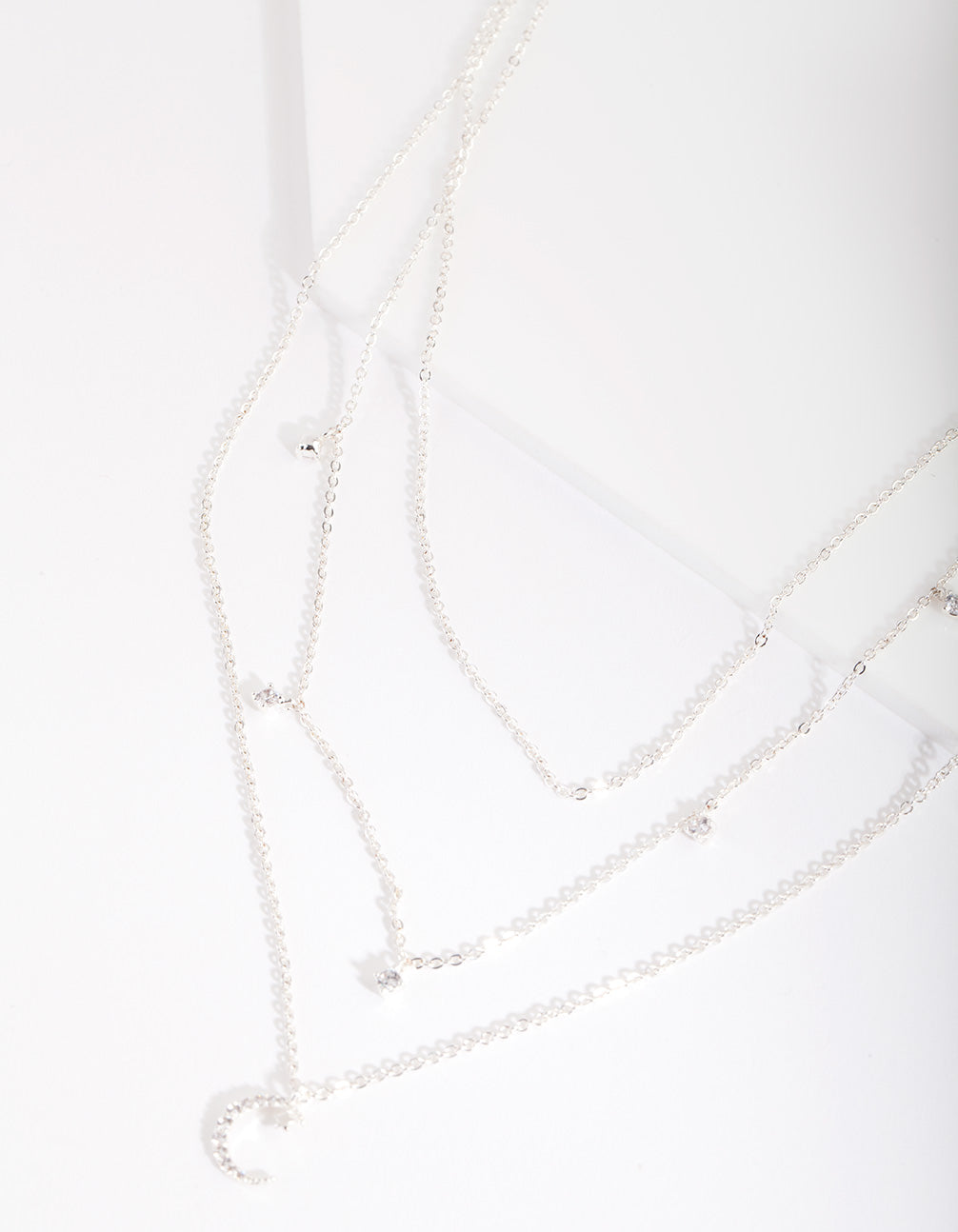 Silver Cubic Zirconia 3 Row Moon & Droplet Necklace