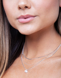 Silver Layered Cubic Zirconia Necklace - link has visual effect only