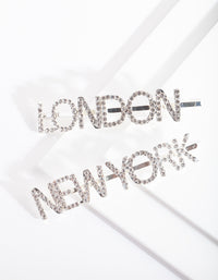 Silver Diamante London New York Hair Clip Pack - link has visual effect only