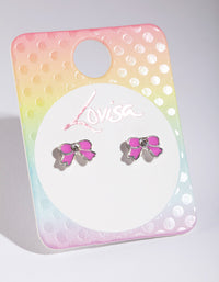 Kids Pink Bow Stud Earring - link has visual effect only