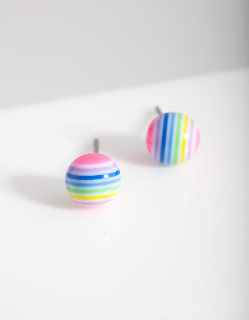 Kids Colourful Striped Ball Stud Earring