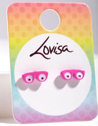 Kids Pink Glasses Earring - link has visual effect only