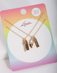 Kids Gold Lock and Key BF Necklace Set - link has visual effect only