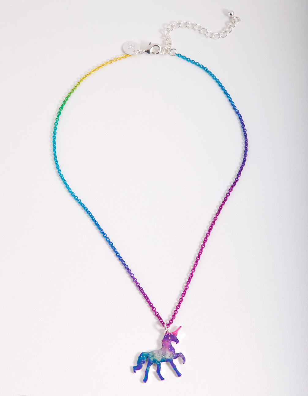 Kids Ombre Rainbow Chain Unicorn Necklace