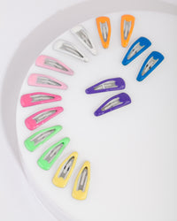 Kids Multicoloured Coated Metal Hair Clip Pack - link has visual effect only
