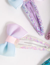 Kids Colourful Ombre Glitter Bow Clip 4 Pack - link has visual effect only