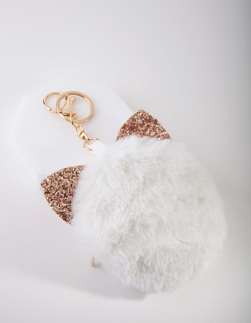 Kids Fluffy White Keyring